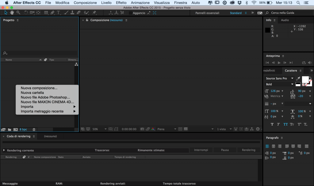After Effects area di lavoro