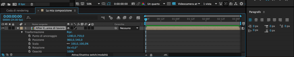 Trasformazione livelli in After Effects
